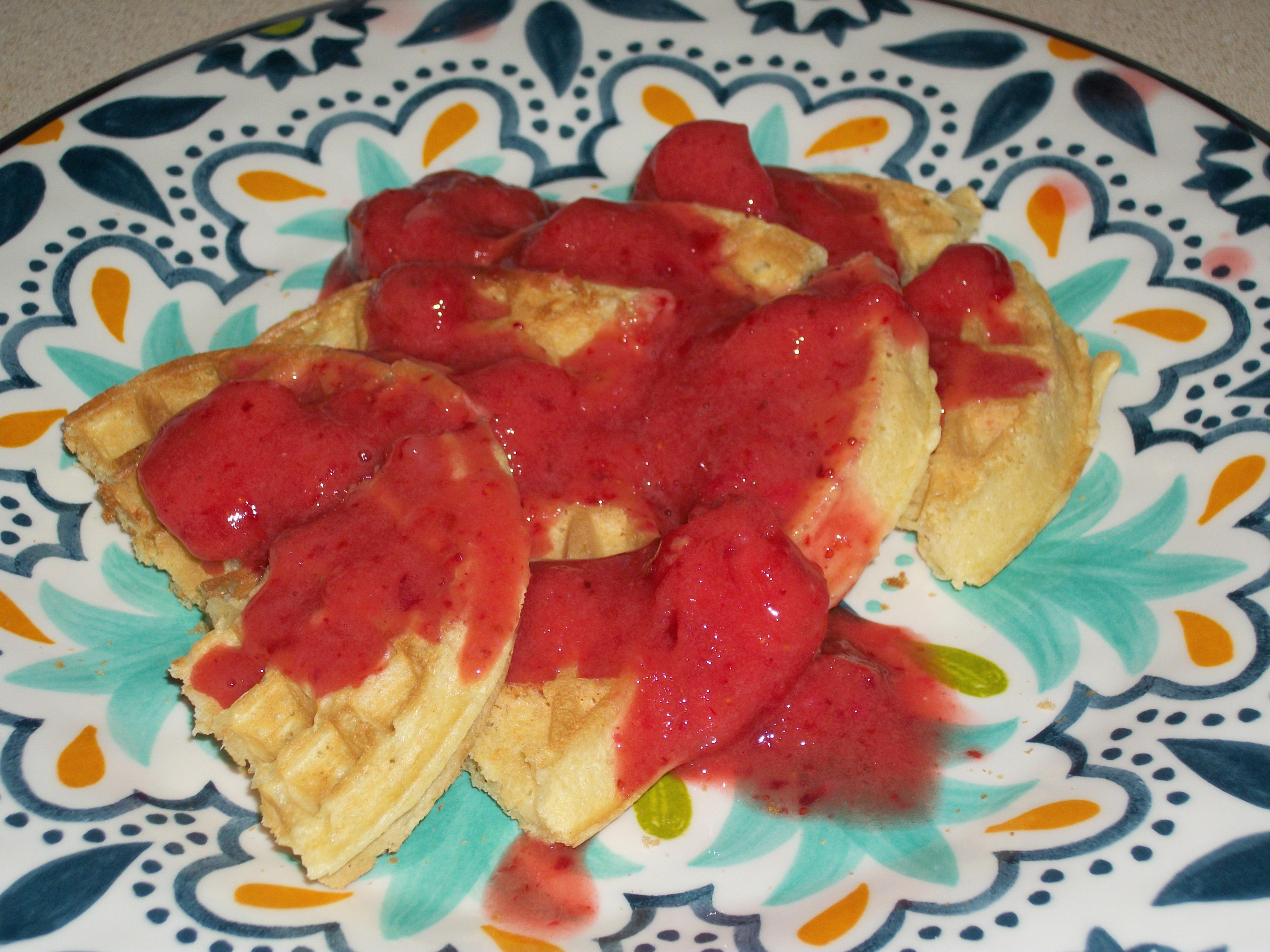 Strawberry Topped Protein Waffles Mandi Thompson Fitness